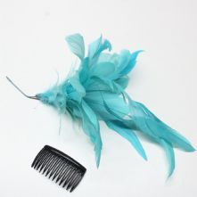 Large Aqua Feather Lily Hat Trim